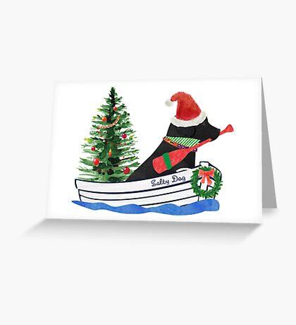 Nautical Preppy Black Lab Aboard The Christmas Salty Dog Greeting Card
