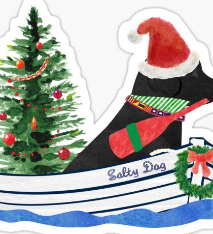 Nautical Preppy Black Lab Aboard The Christmas Salty Dog Sticker