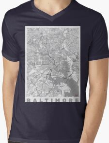Baltimore Map Line Mens V-Neck T-Shirt