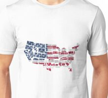 USA States Typography - Outlined Unisex T-Shirt
