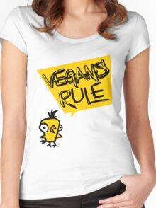 Vegans rule Women's Fitted Scoop T-Shirt