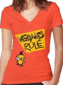 Vegans rule Women's Fitted V-Neck T-Shirt