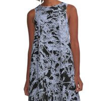 Abstract line art, grunge mixed pattern A-Line Dress