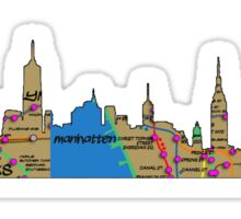 subway map new York city graffiti Manhattan skyline with brooklyn bridge and statue of liberty Sticker