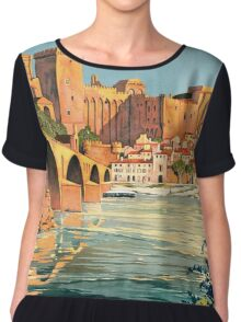 Avignon, French Travel Poster Chiffon Top