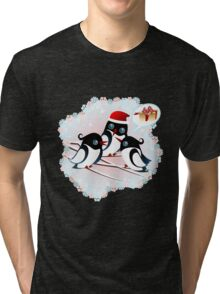 Winter Birds Christmas Wish - Cute Tee Tri-blend T-Shirt