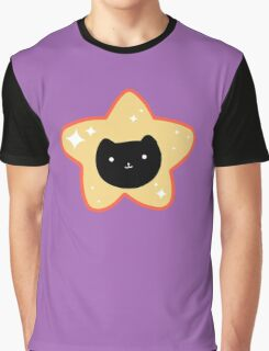 Star Black Cat Face Graphic T-Shirt