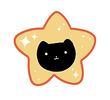 Star Black Cat Face Photographic Print