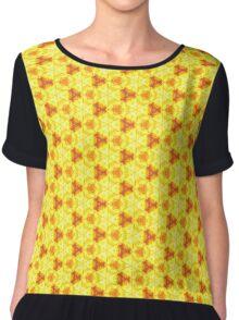 Yellow orange fire pattern Chiffon Top