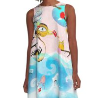 Nothing will drag you down - Duck Crab Rupydetequila Friends A-Line Dress