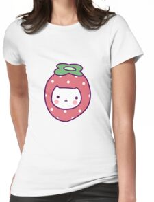 Strawberry Cat Face Womens Fitted T-Shirt