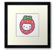 Strawberry Cat Face Framed Print