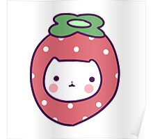 Strawberry Cat Face Poster
