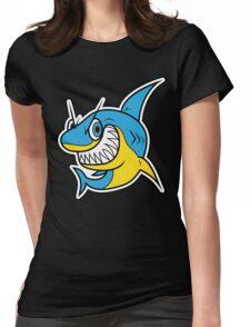 Smiling Blue Shark Cartoon Womens Fitted T-Shirt