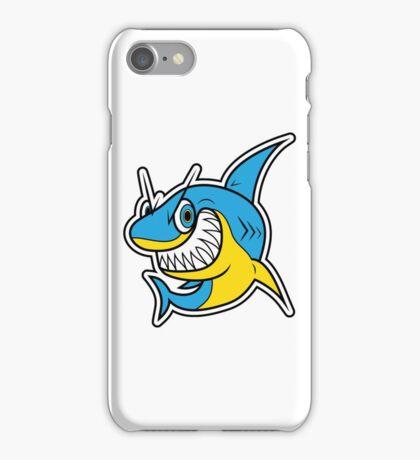 Smiling Blue Shark Cartoon iPhone Case/Skin