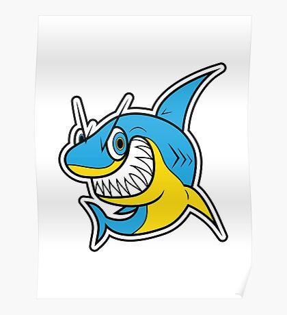 Smiling Blue Shark Cartoon Poster
