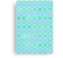 Moroccan Aqua Doodle pattern in mint green, blue & white Canvas Print