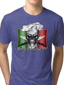 Italian Chef Skull 1: Mangia! Mangia! Tri-blend T-Shirt