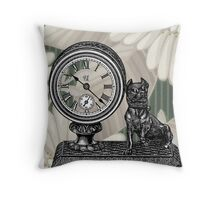 Victorian White Flowers Bull Dog Clock Throw Pillow