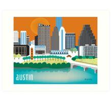 Austin, Texas Illustrated Skyline by Loose Petals Art Print