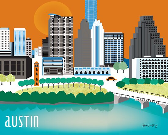 Austin, Texas Illustrated Skyline by Loose Petals by Loose  Petals