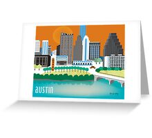 Austin, Texas Illustrated Skyline by Loose Petals Greeting Card