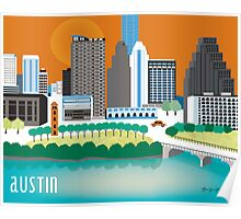 Austin, Texas Illustrated Skyline by Loose Petals Poster