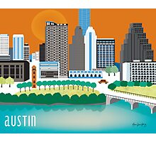 Austin, Texas Illustrated Skyline by Loose Petals Photographic Print