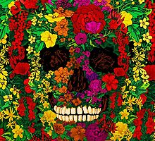 Full color sugar skull candy flower and leaf Day of the dead el dia de los muertos pattern by threesecond