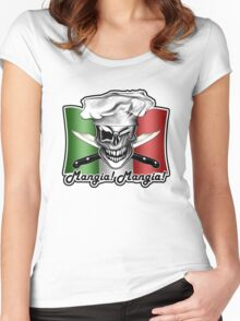 Italian Winking Chef Skull: Mangia! Mangia! Women's Fitted Scoop T-Shirt