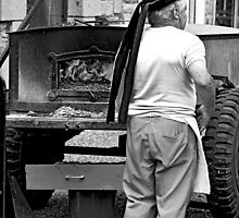 B&W - Baker with Oven in the Street by Buckwhite