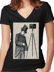 Victorian Steampunk Photographer Camera Women's Fitted V-Neck T-Shirt