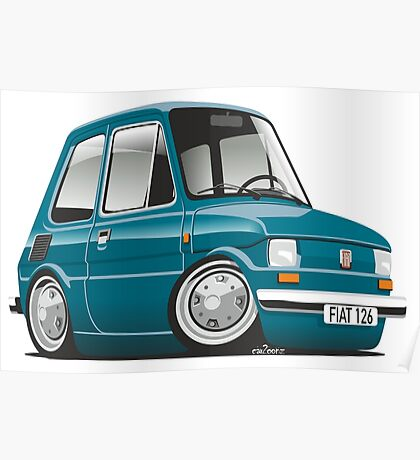 Fiat 126 caricature turquoise Poster