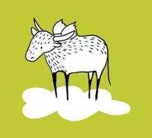 Flying Water Buffalo by Amanda Jones Sticker