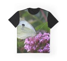 Large cabbage white butterfly on valerian flowers Graphic T-Shirt