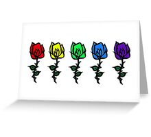 Five Rose Row [Rainbow] Greeting Card