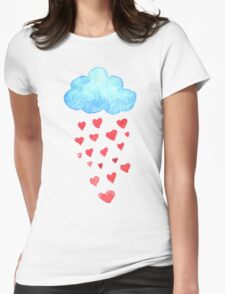 Rain drops of red hearts in the blue sky Womens Fitted T-Shirt