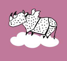 Flying Rhinoceros by Amanda Jones Sticker