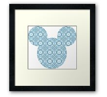 Mouse Delicate Blue Patterned Silhouette Framed Print