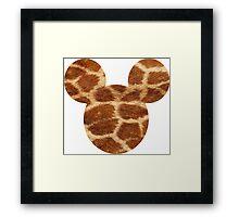 Mouse Giraffe Print Patterned Silhouette Framed Print