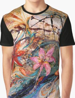The Splash Of Life 17. Humming-bird and exotic flowers Graphic T-Shirt