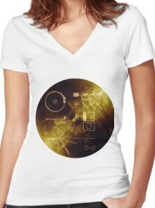 The Voyager Golden Record! Women's Fitted V-Neck T-Shirt