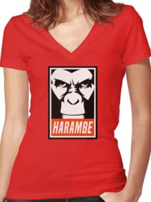 Harambe (OBEY Meme) Gorilla Shirt, Phone Case, Stickers Women's Fitted V-Neck T-Shirt