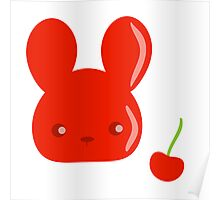 cherry fruit bunny Poster