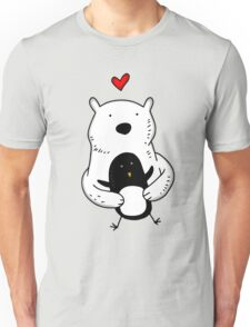 A polar bear and a penguin are real friends Unisex T-Shirt