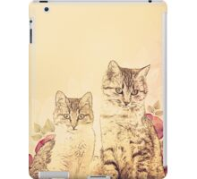 Vintage illustration, Kittens and flowers. iPad Case/Skin