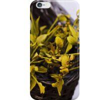 Dried mistletoe in a wooden basket iPhone Case/Skin