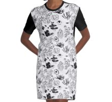 Organic Pattern (Black and White) Graphic T-Shirt Dress
