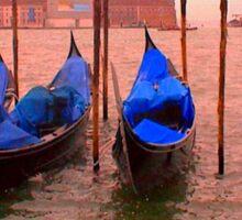 Venice Gondolas Digitally Altered Sticker