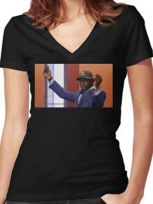 Crying Jordan Johnny Manziel on NFL Draft Day Women's Fitted V-Neck T-Shirt